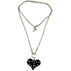 Cookie lee vintage pave heart necklace
